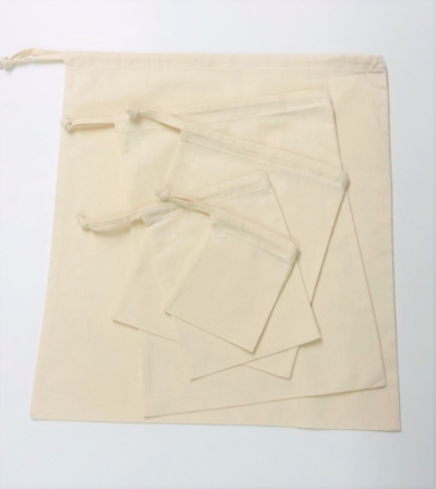 Pack of 5 Cotton Drawstring Bags