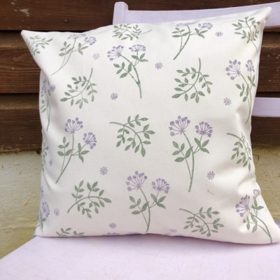 Botanical Block Printed Cushion Cover