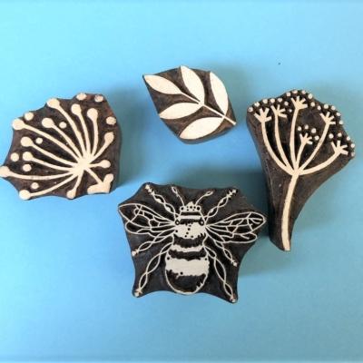 Indian Block Printing Set- Botanical Bee
