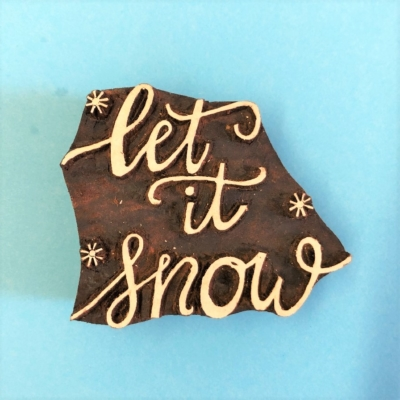 Indian Wooden Printing Block- Let it Snow with Stars