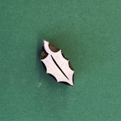 Indian Wooden Printing Block- Single Holly Leaf