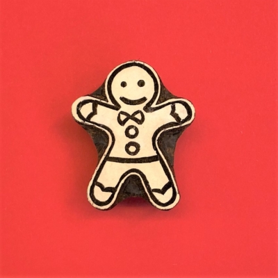 Indian Wooden Printing Block- Small Gingerbread Man