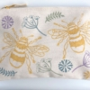 Large Zip Pouch- Block Printed Botanical Bee