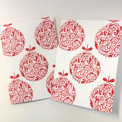 Block Printing Kit- Red Bauble Christmas Cards