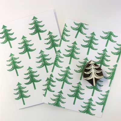 Block Printing Kit- Christmas Cards Green Tree
