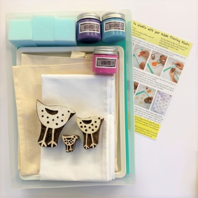 Complete Block Printing Kit- 3 Birds
