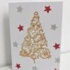 Block Printed Elegant Christmas Tree Gold Card