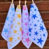 Hand Printed Starry Napkins- Duck/ Mustard/ Pink/ Brilliant Blue