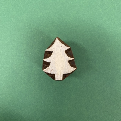Indian Wooden Printing Block- Small Classic Christmas Tree