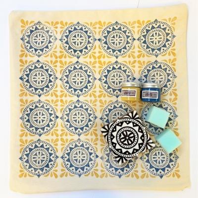 Indian Block Printing Kit- Moroccan Tile Cushion Cover Kit