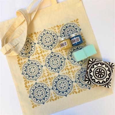 Indian Block Printing Kit- Moroccan Tile Tote Bag