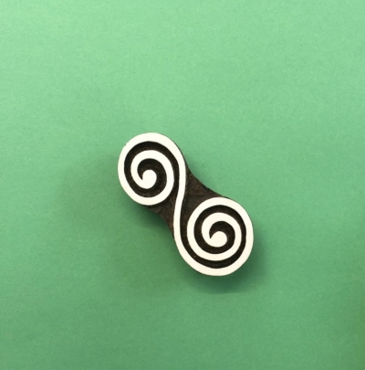 Indian Wooden Printing Block - Double Spiral Swirl