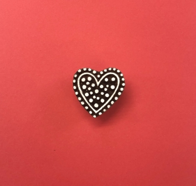 Indian Wooden Printing Block- Large Dotty Heart