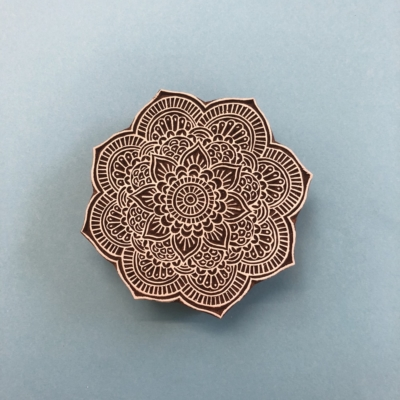 Indian Wooden Printing Block - Large Detailed Indian Sunflower