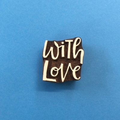 Indian Wooden Printing Block- Large With Love Design
