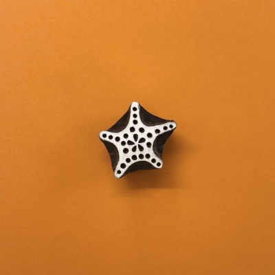 Indian Wooden Printing Block - Small Solid Starfish