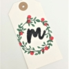 Block Printed Wreath & Berry Gift Tag