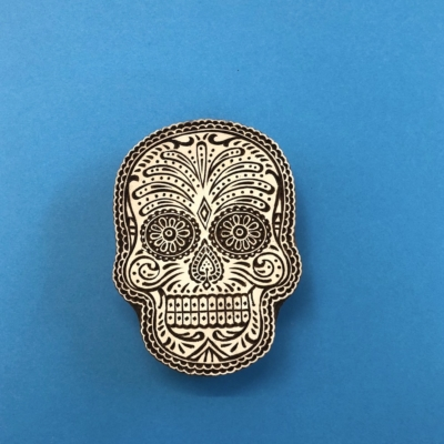 Indian Wooden Printing Block - Sugar Skull