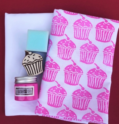 Indian Block Printing Tea Towel Set- Pink Cupcake