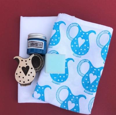 Indian Block Printing Tea Towel Set- Turquoise Jug