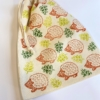 Block Printed Drawstring Bag - Hedgehod & Leaf