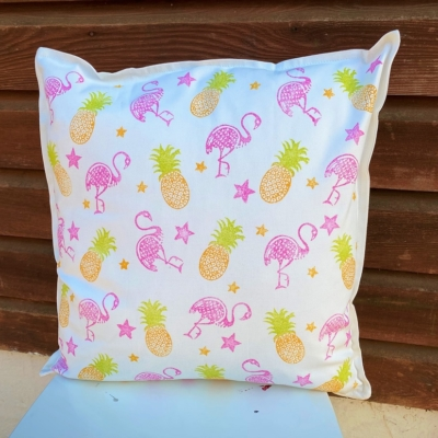Block Printed Funky Flamingo Cushion Cover