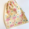 Block Prirning Flamingo and Star Drawstring Bag