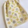 Block Printing Flower, Leaf & Bee Drawstring Bag