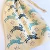 Block Printing Hare & Flower Drawstring Bag
