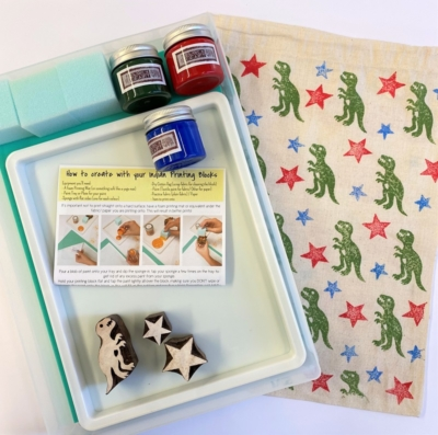 Indian Block Printing Starter Kit - Dinosaur and Stars