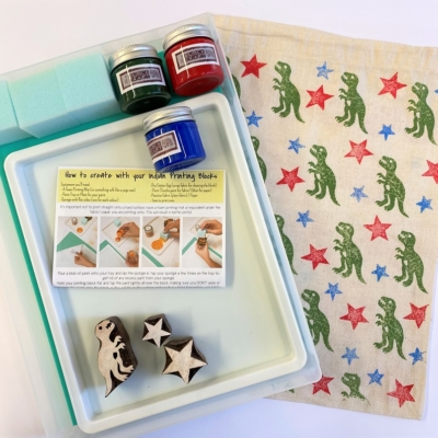 Indian Block Printing Starter Kit - Dinosaur and Stars