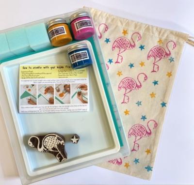 Indian Block Printing Starter Kit - Flamingo and Star
