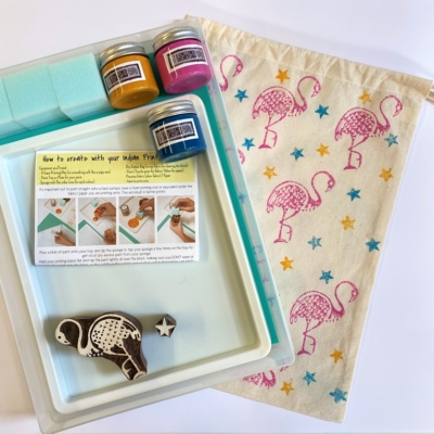 Indian Block Printing Starter Kit - Flamingo and Star