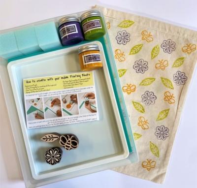 Indian Block Printing Starter Kit - Flower , Bee & Leaf
