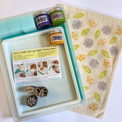 Indian Block Printing Starter Kit - Flower , Bee & Leaf