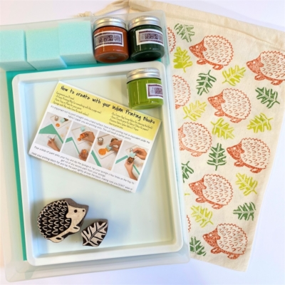 Indian Block Printing Starter Kit - Hedgehog & Leaf