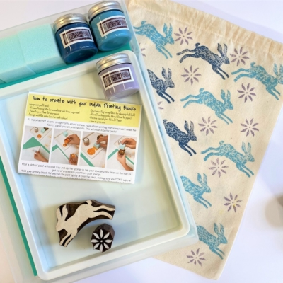 Indian Block Printing Starter Kit- Leaping Hare & Flower