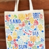 Sealife Block Printed Tote Bag