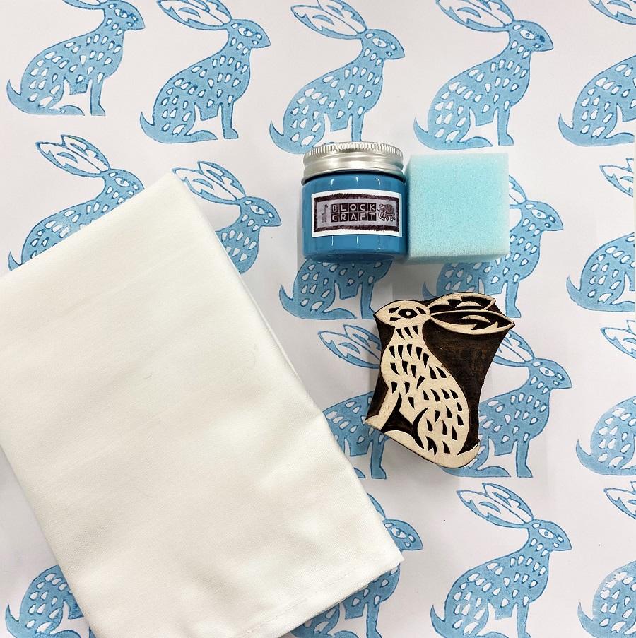 Block Print Kit Sitting Hare Tea Towels Arty Crafty