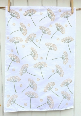 Cow Parsley Tea Towel- printed in Indian Yellow & Khaki