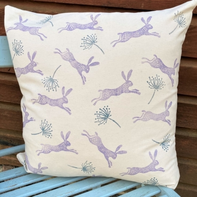Hare & Seed Head Cushion Cover Block Printing Kit