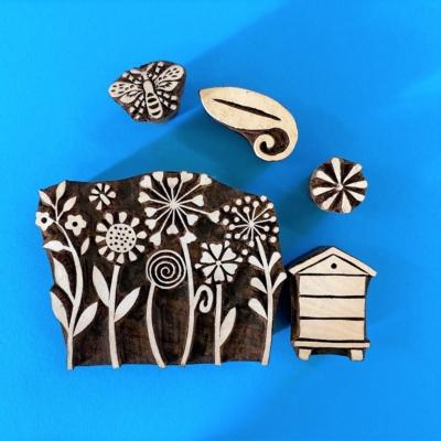 Indian Wooden Printing Set - Flower Garden Scene