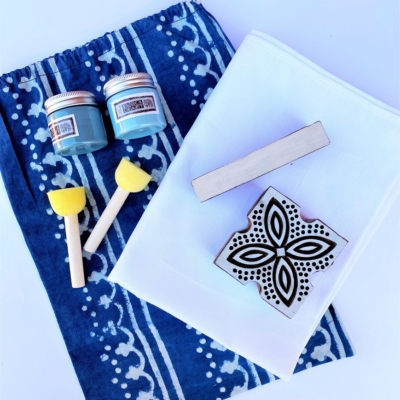 Block Printing Kit- Leaf Tile Table Runner