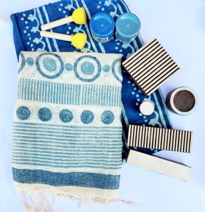 Block Printing Organic Scarf Kit- Blues