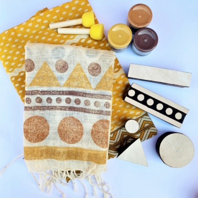 Block Printing Organic Scarf Kit- Rustics