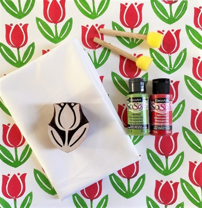 Indian Block Printing Kit- Red Rose