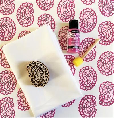 Indian Block Print Kit- Pretty Pink Paisley