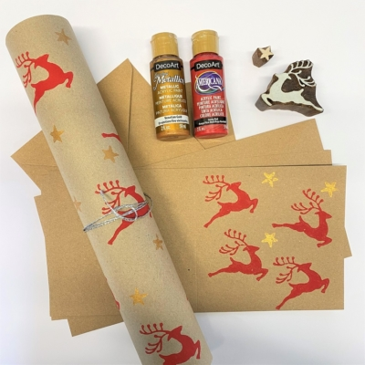 Block Printing Kit- Christmas Stationery Printing Leaping Reindeer