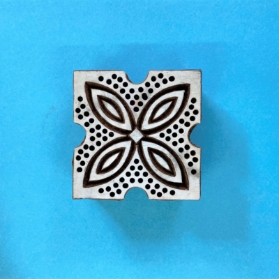 Indian Wooden Printing Block- Spotty Leaf Tile