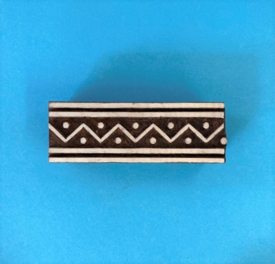 Indian Wooden Printing Block- Lined ZigZag Border